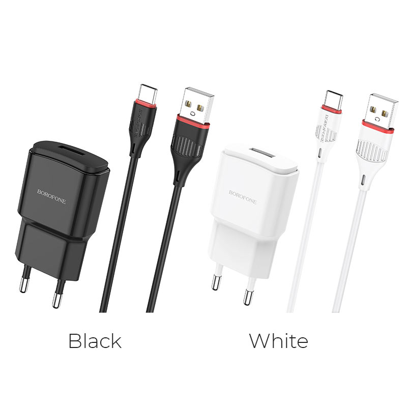 borofone ba48a orion single port wall charger set with usb c cable colors