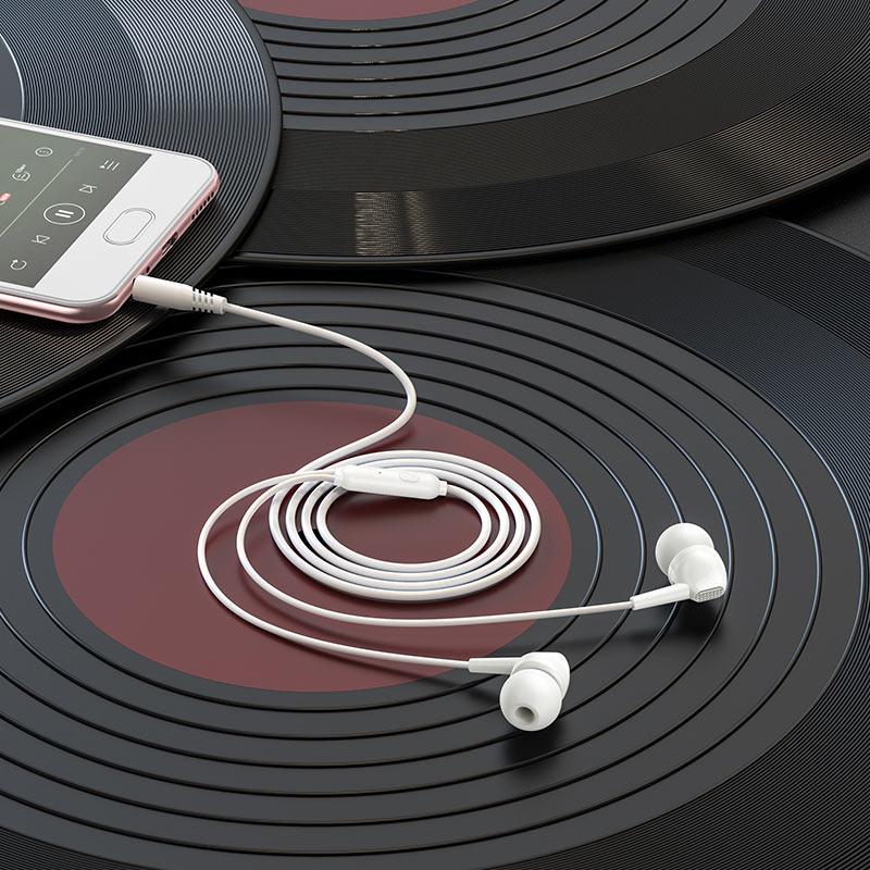borofone bm51 hoary universal earphones with microphone interior white