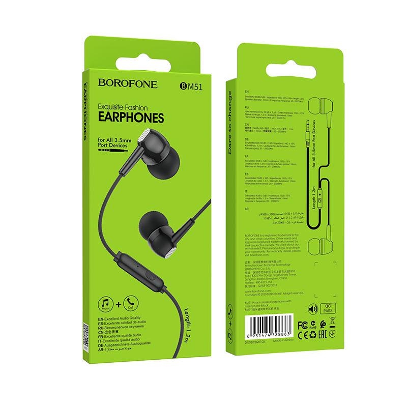 borofone bm51 hoary универсальные наушники с микрофоном упаковка вид спереди сзади черный