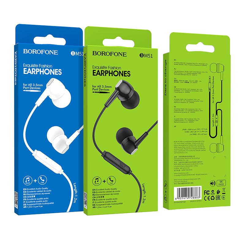 borofone bm51 hoary универсальные наушники с микрофоном упаковки