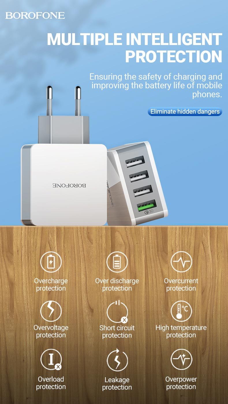 borofone news ba43a bountiful four ports qc3 wall charger eu protection en