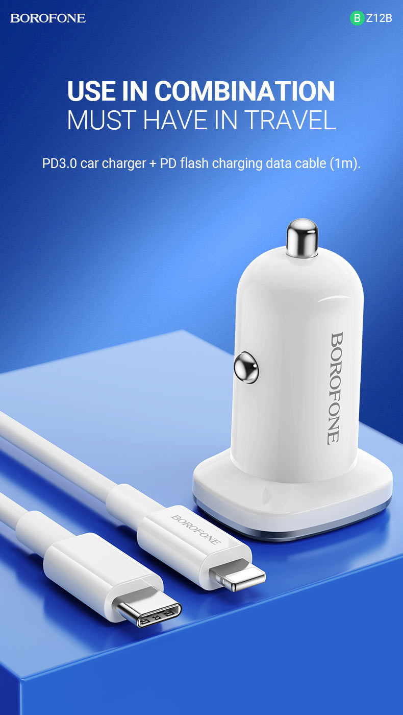 borofone news bz12b lasting power pd3 in car charger combination en