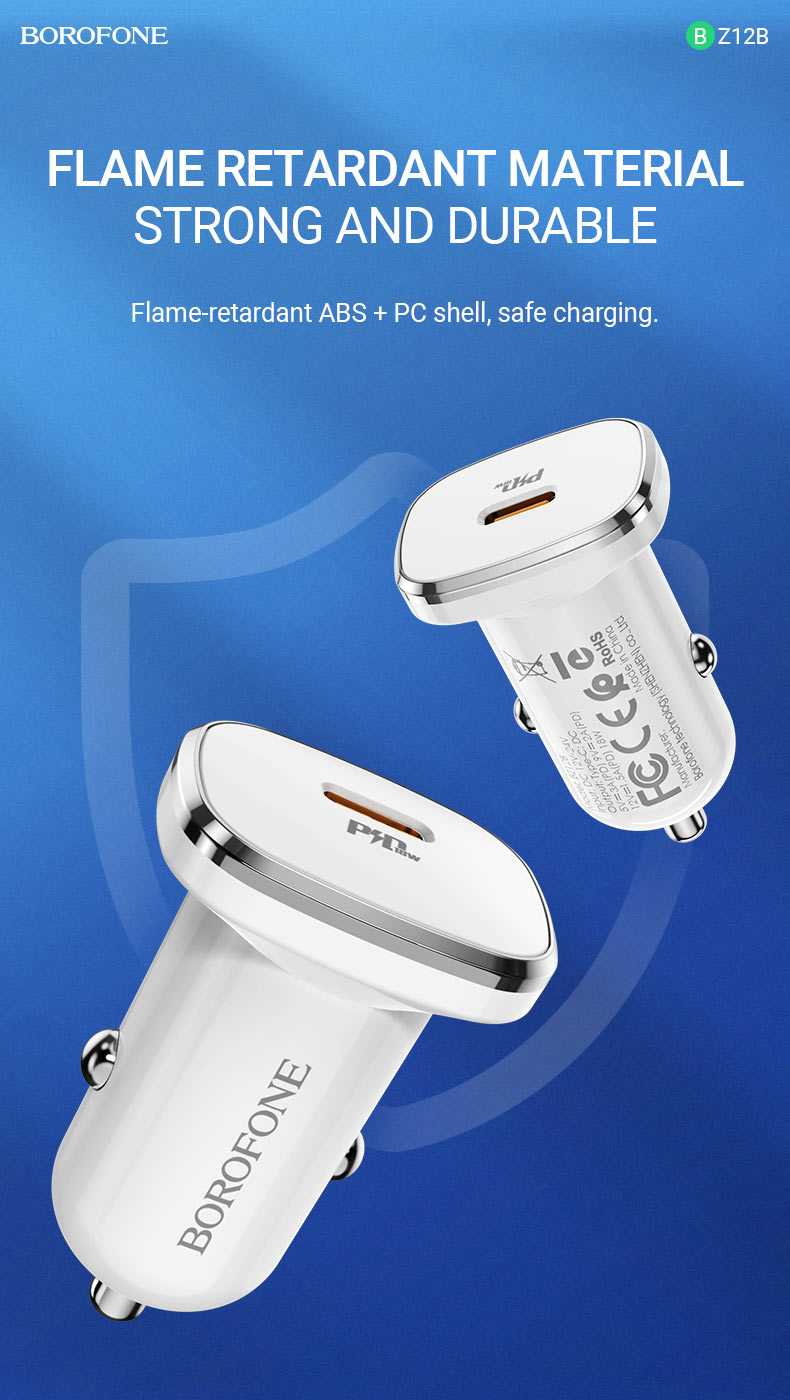 borofone news bz12b lasting power pd3 in car charger flame retardant en