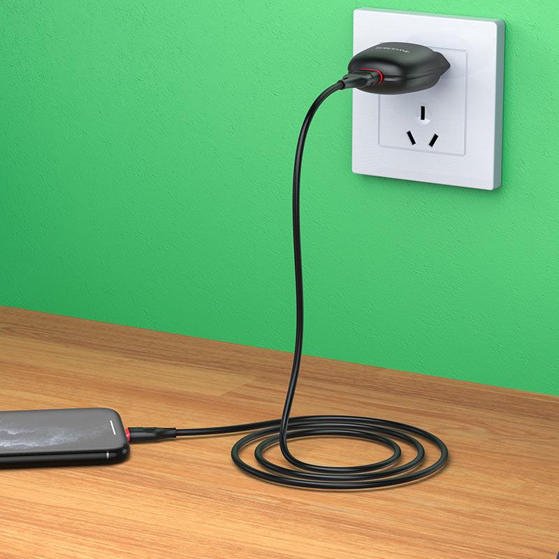 borofone ba49a vast power single port wall charger eu lightning set overview