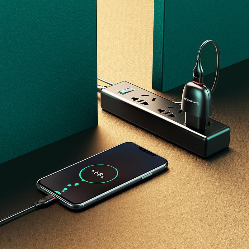 borofone ba49a vast power single port wall charger eu micro usb set interior black