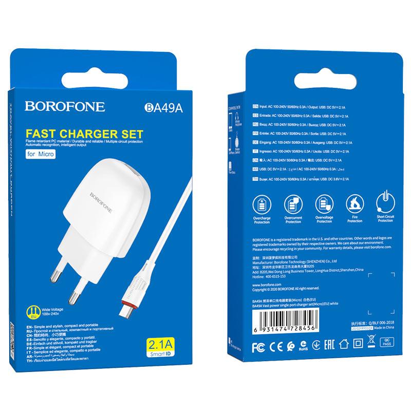 borofone ba49a vast power single port wall charger eu micro usb set package white