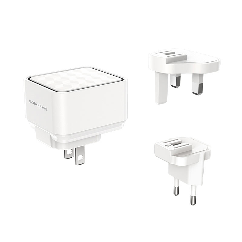 borofone ba51 easy removable pin wall charger us eu uk plugs