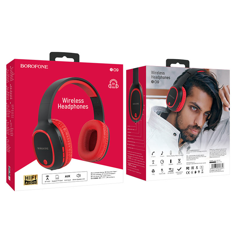 borofone bo9 pearl wireless headphones package front back