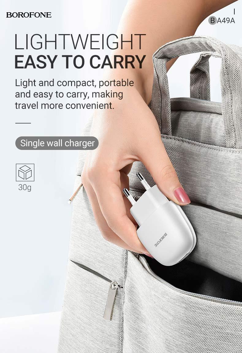 borofone new ba49a vast power single port wall charger eu lightweight en
