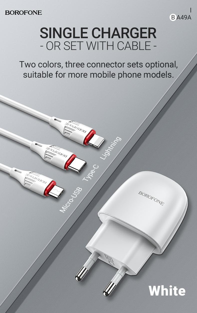 borofone new ba49a vast power single port wall charger eu white en