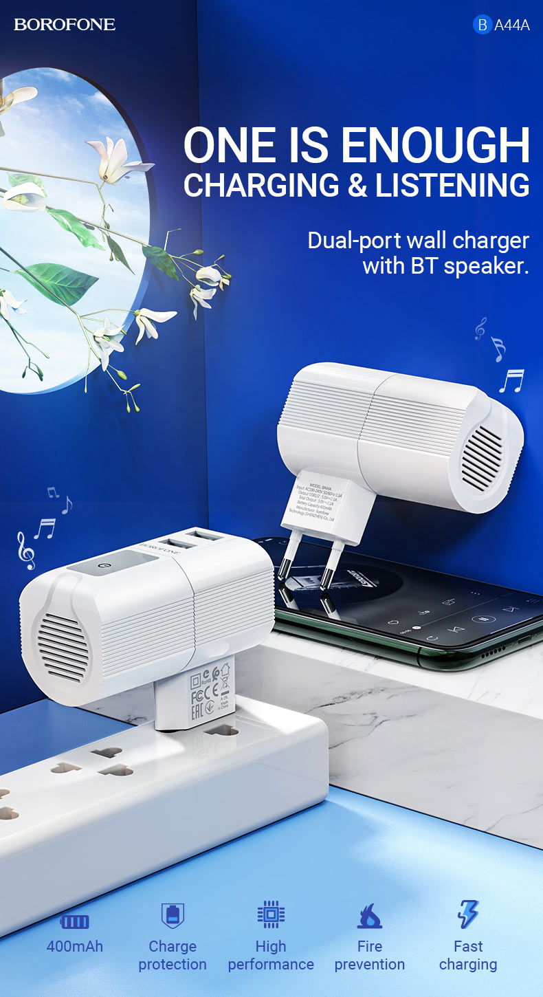 borofone news ba44a sage power dual port wall charger eu wireless speaker one is enough en