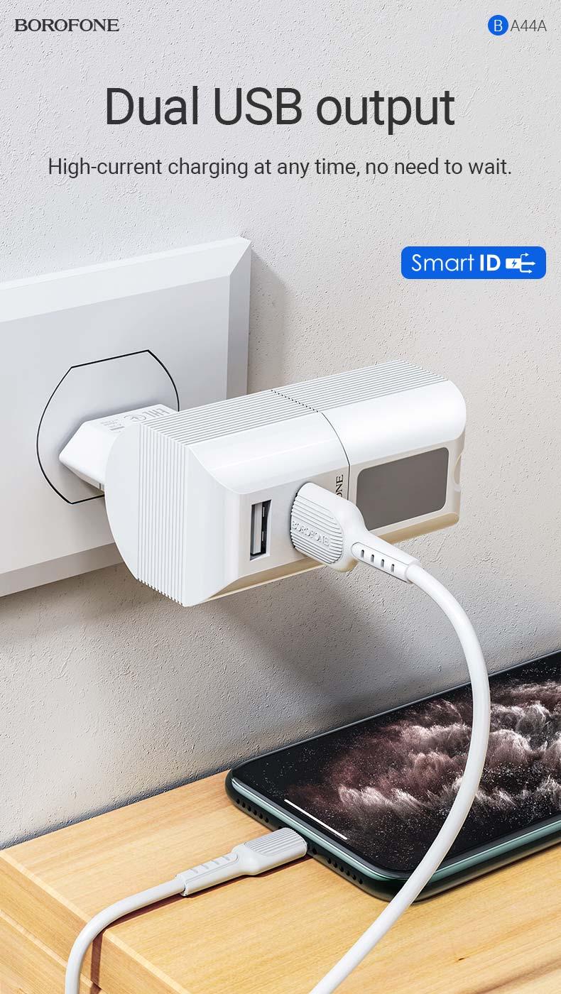 borofone news ba44a sage power dual port wall charger eu wireless speaker output en