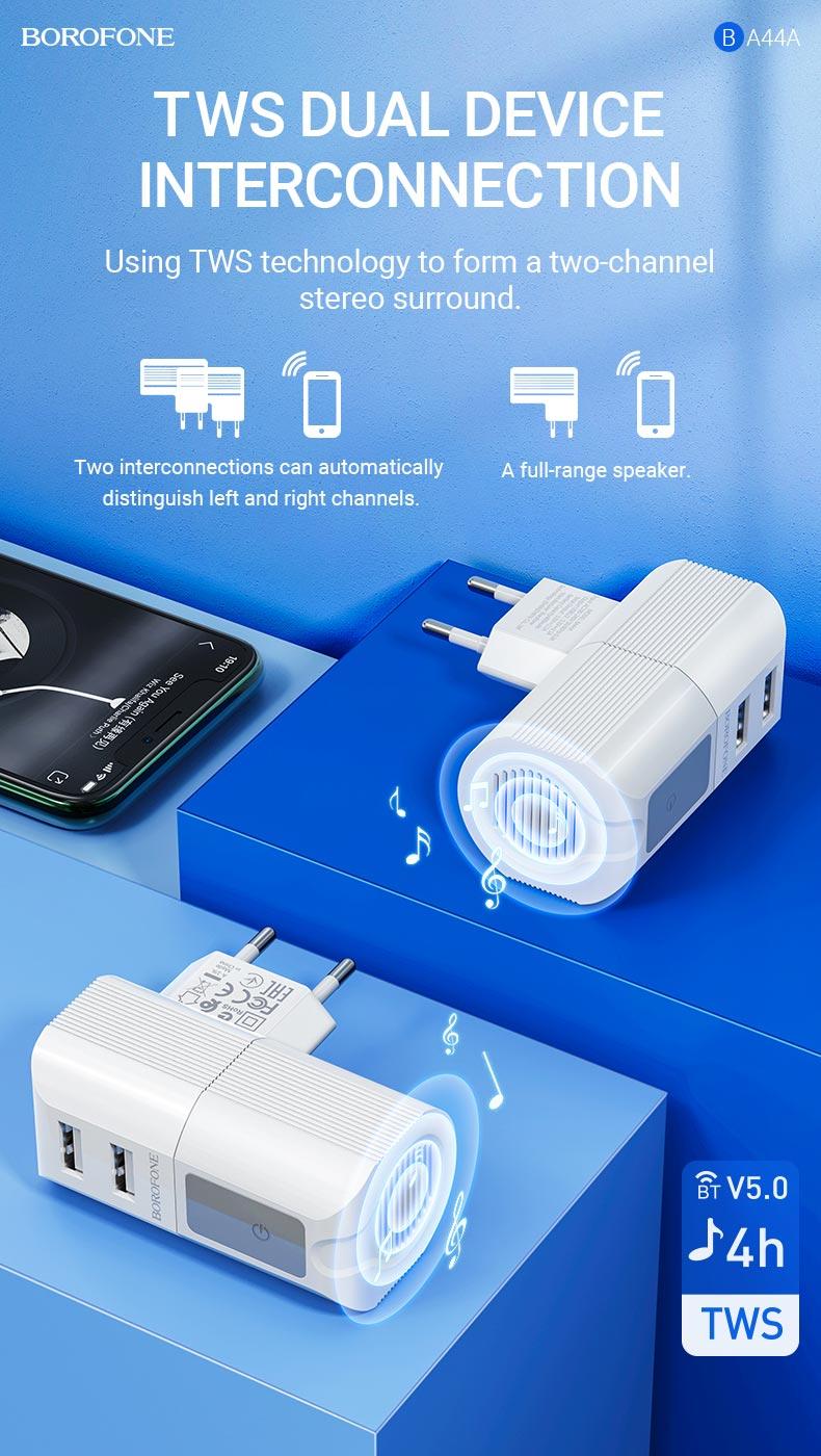 borofone news ba44a sage power dual port wall charger eu wireless speaker tws en