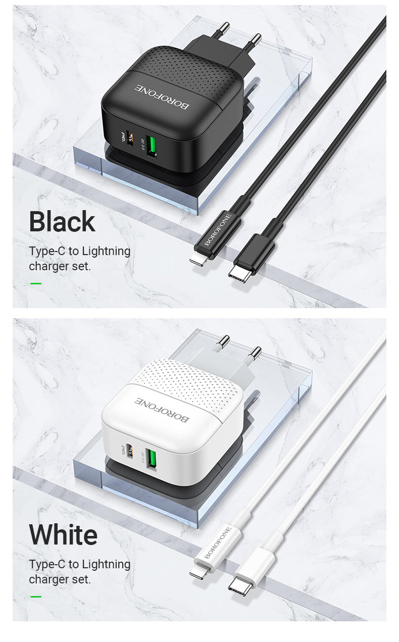 borofone news ba46a premium pd qc3 wall charger eu black white en