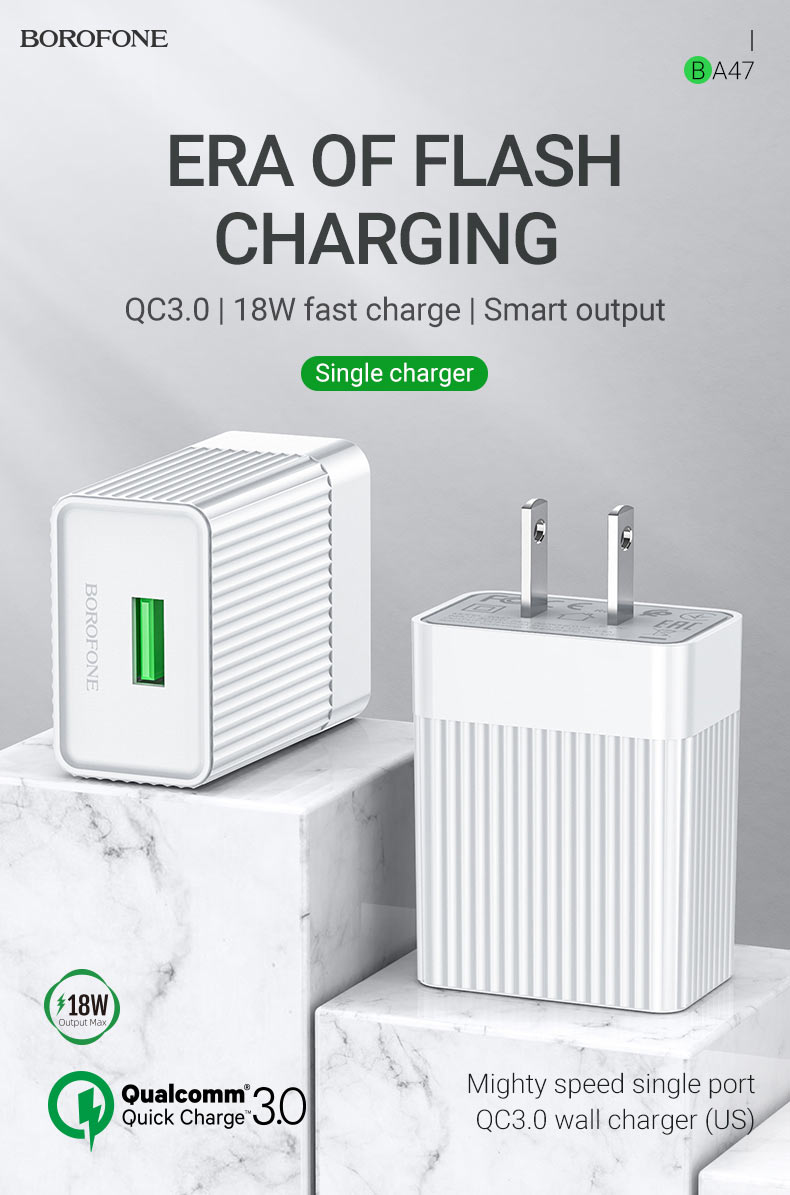 borofone news ba47 mighty speed single port qc3 wall charger us era en