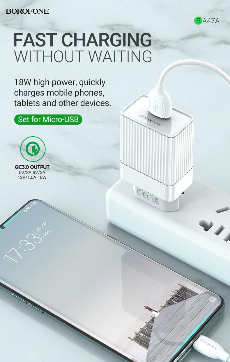 borofone news ba47a mighty speed single port qc3 wall charger eu 18w en