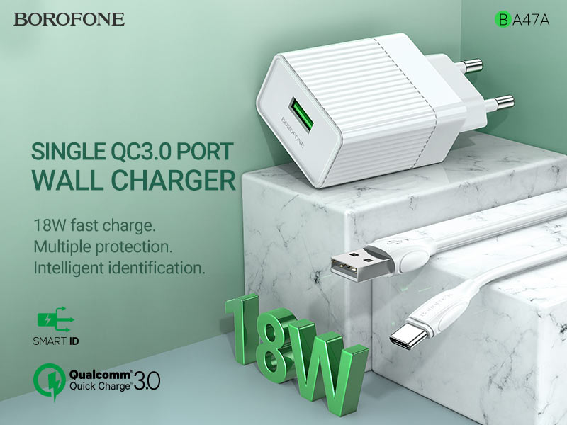 borofone news ba47a mighty speed single port qc3 wall charger eu banner en