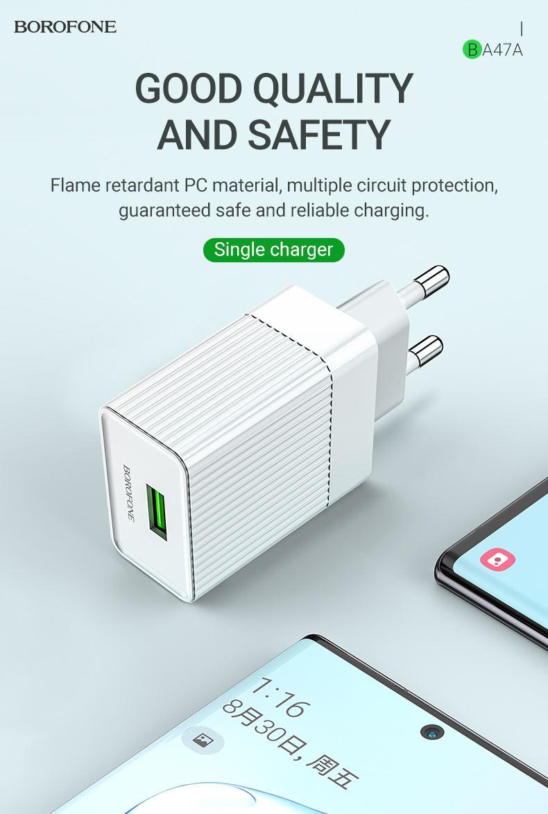 borofone news ba47a mighty speed single port qc3 wall charger eu quality en