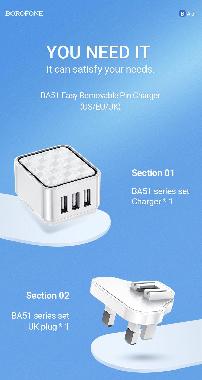 borofone news ba51 easy removable pin wall charger us eu uk 1 en