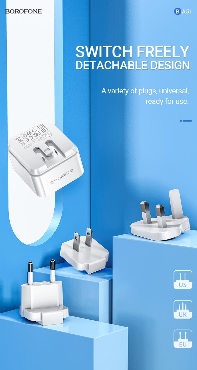 borofone news ba51 easy removable pin wall charger us eu uk switch en