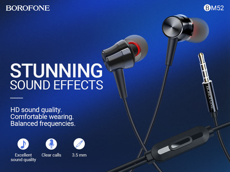 borofone news bm52 revering wired earphones with microphone banner en