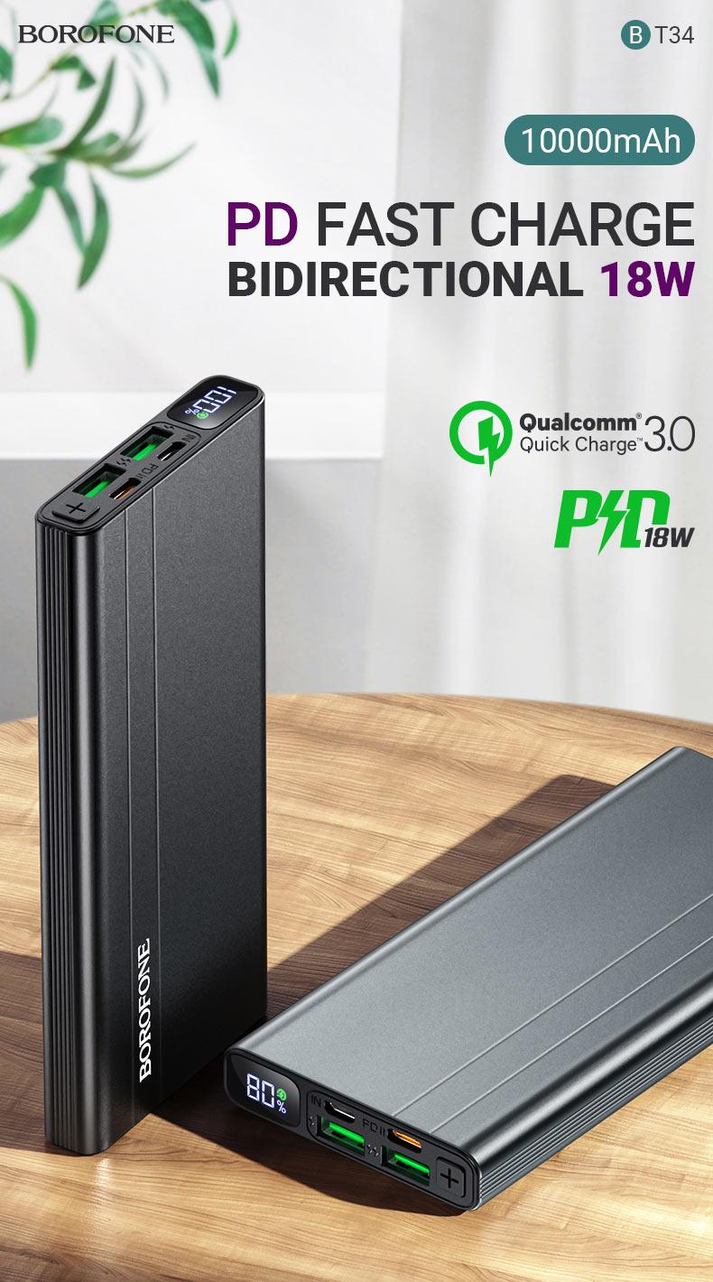 borofone news bt34 velocity pd qc3 power bank 10000mah bidirectional en