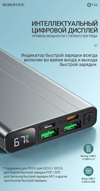 borofone news bt34 velocity pd qc3 портативный аккумулятор 10000mah дисплей