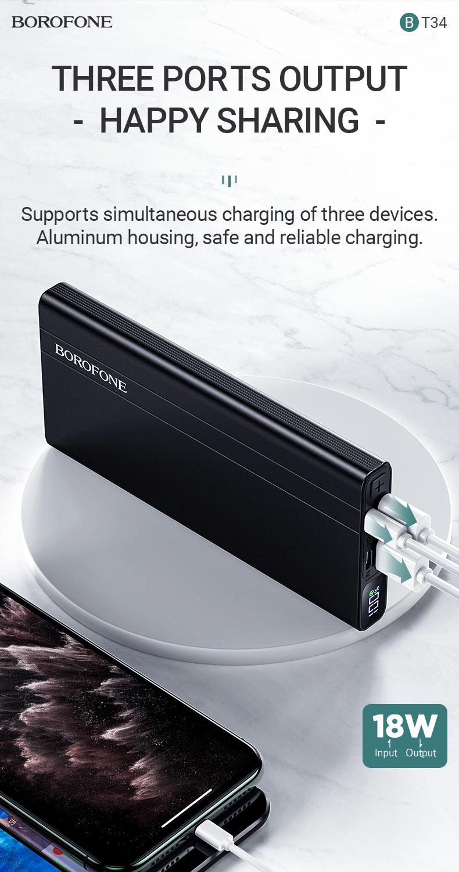 borofone news bt34 velocity pd qc3 power bank 10000mah output en