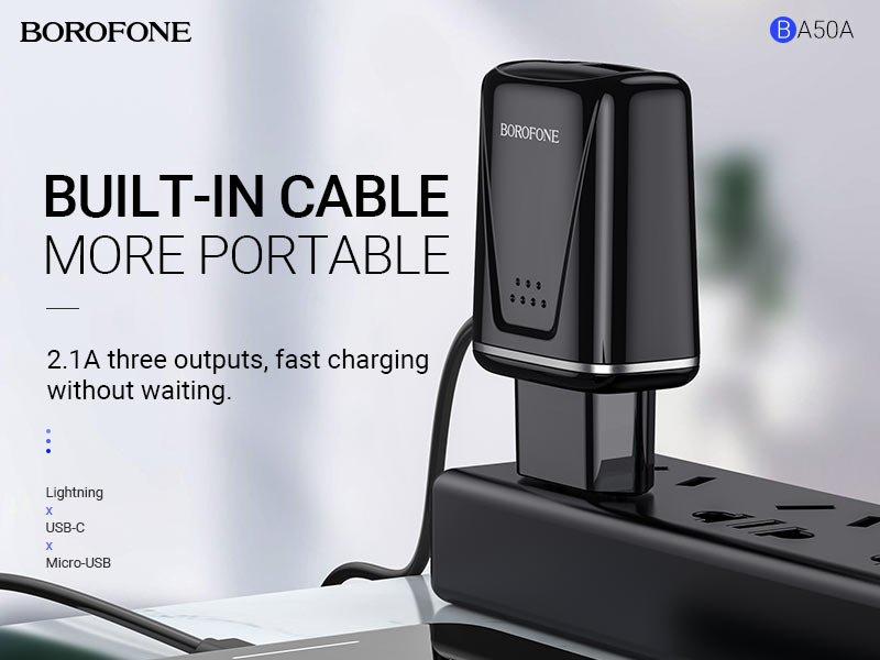 borofone news ba50a beneficence dual port wall charger with cable banner en