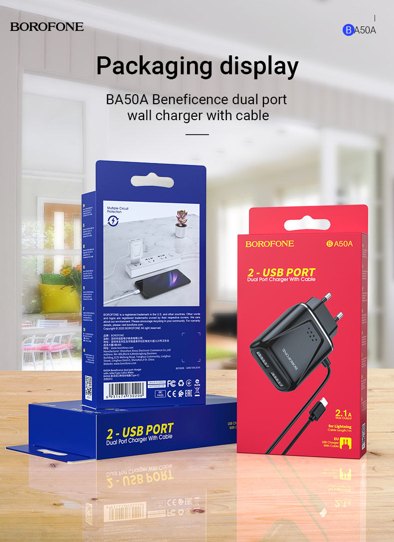 borofone news ba50a beneficence dual port wall charger with cable package en