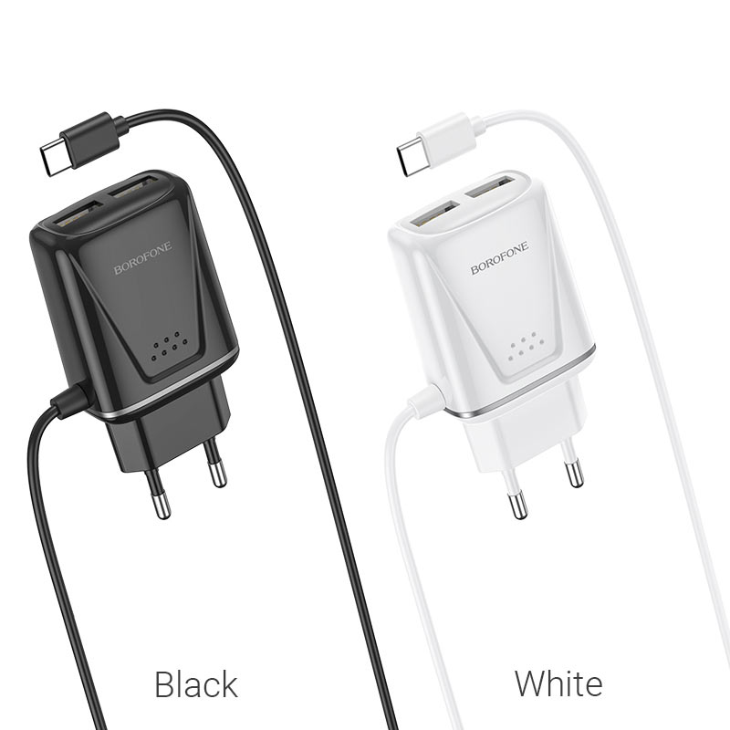 borofone ba50a beneficence dual port wall charger with usb c cable colors