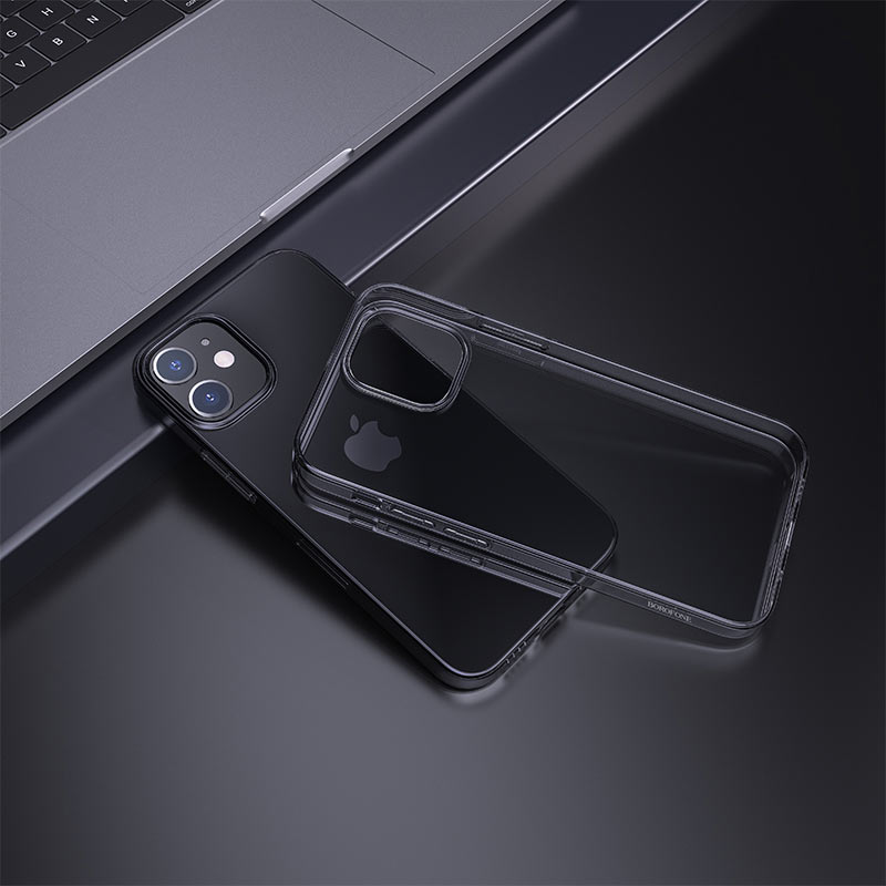 borofone ice series bi4 phone case for iphone 12 5.4 6.1 interior black