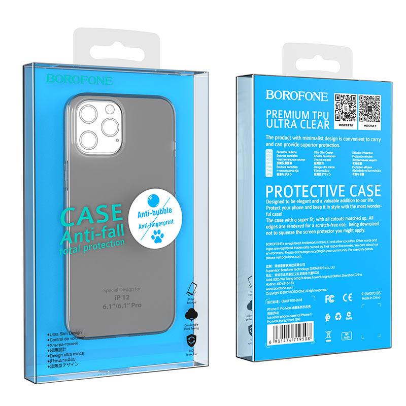 borofone ice series bi4 phone case for iphone 12 6.1 black package