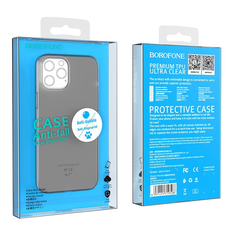 borofone ice series bi4 phone case for iphone 12 6.7 black package