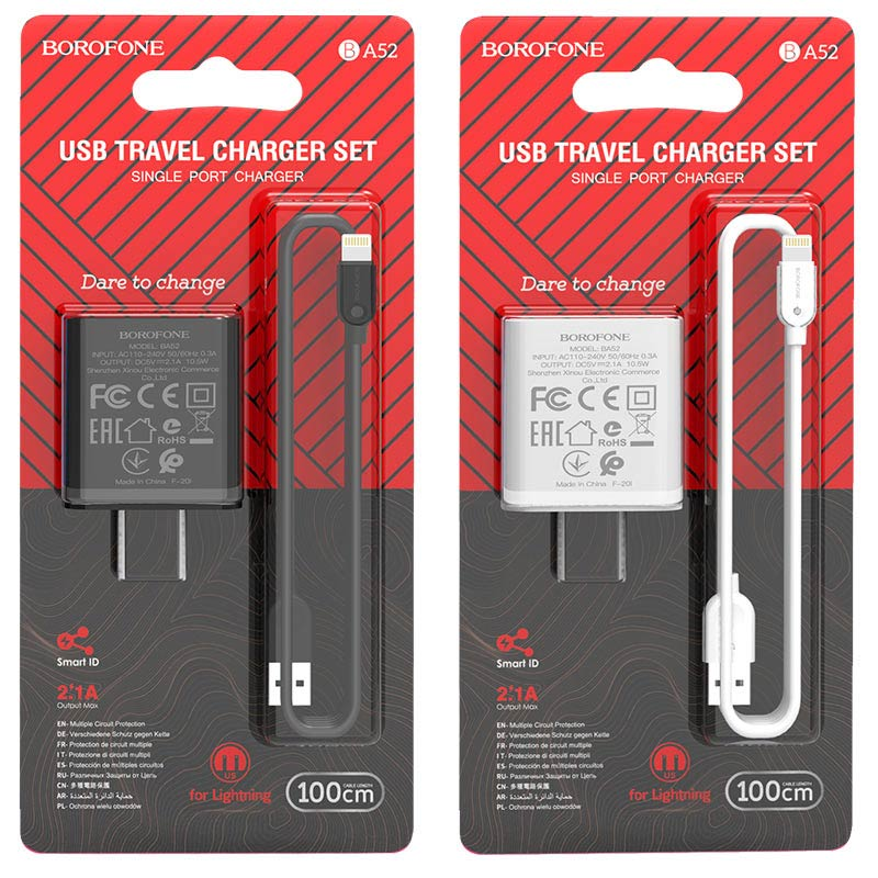 borofone ba52 gamble single port wall charger us plug lightning set packages