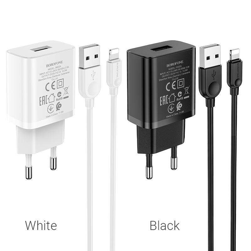 borofone ba52a gamble single port wall charger eu plug lightning set colors