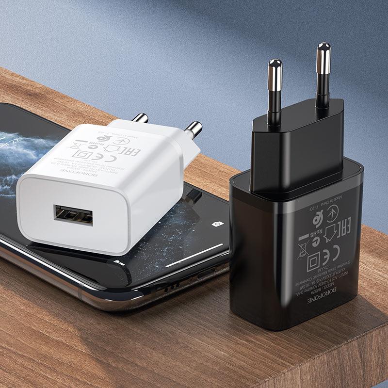 borofone ba52a gamble single port wall charger eu plug lightning set interior