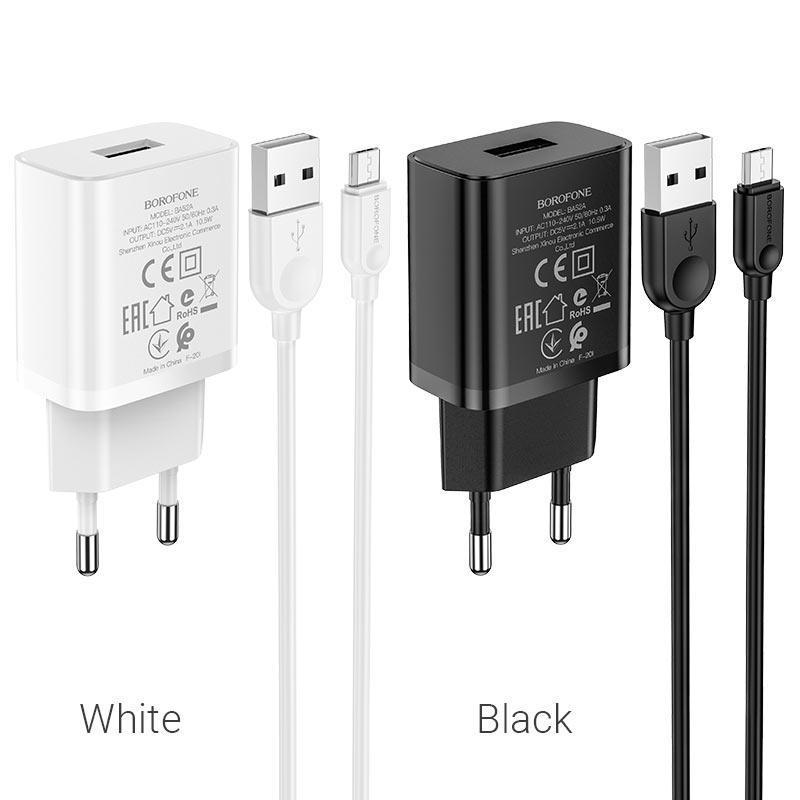 borofone ba52a gamble single port wall charger eu plug micro usb set colors