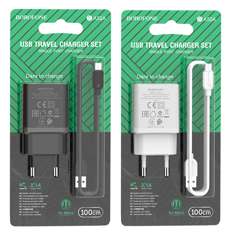 borofone ba52a gamble single port wall charger eu plug micro usb set packages