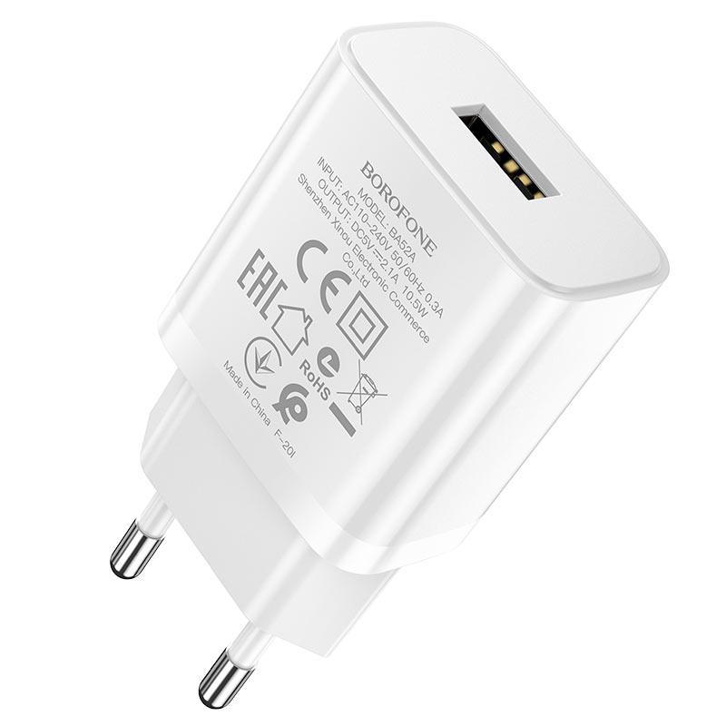 borofone ba52a gamble single port wall charger eu plug specs