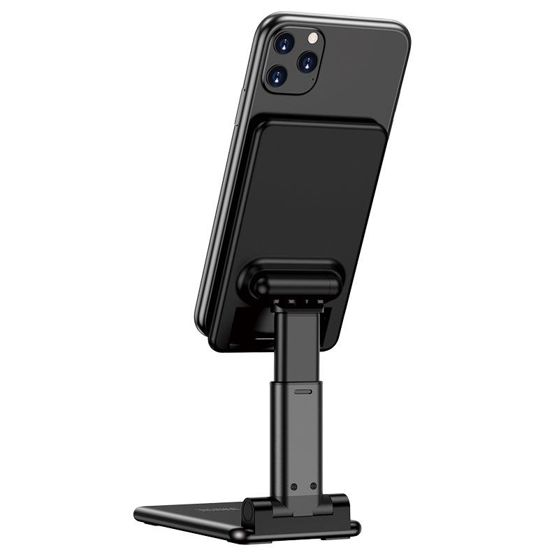 borofone bh33 praised mobile phone folding desktop stand back view black