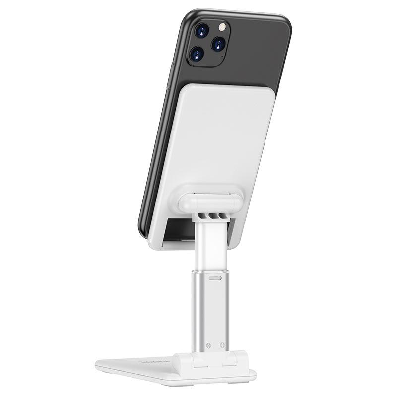 borofone bh33 praised mobile phone folding desktop stand back view white