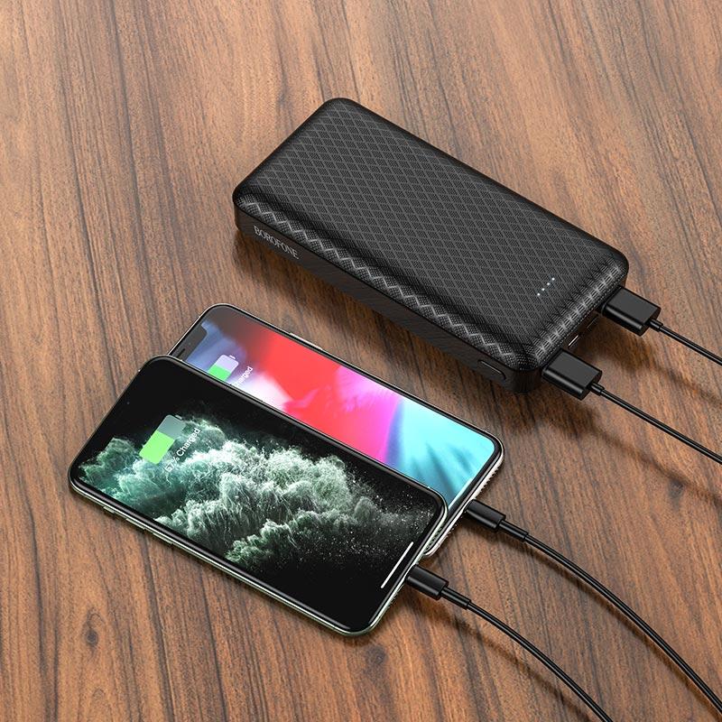 borofone bj3a minimalist портативный аккумулятор 20000mah зарядка черный