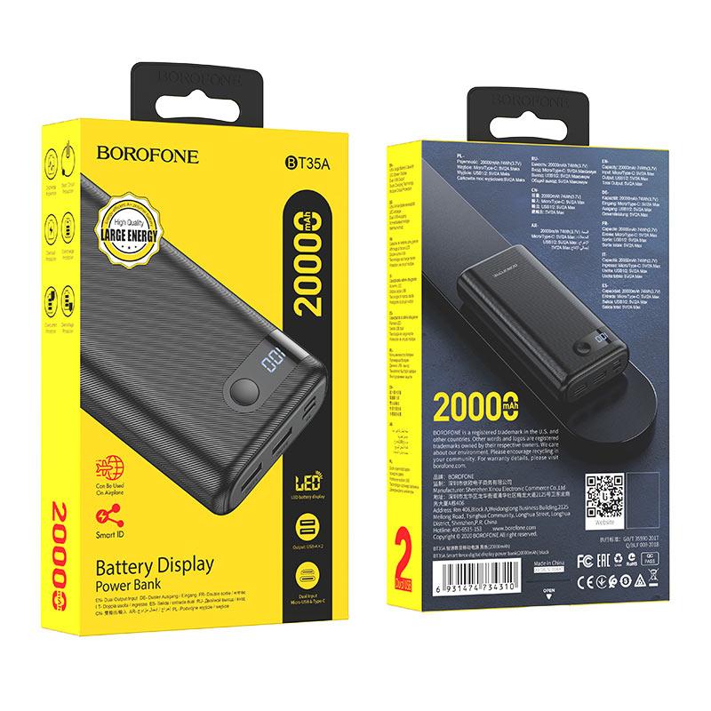borofone bt35a smart force портативный аккумулятор с дисплеем 20000mah упаковка черный