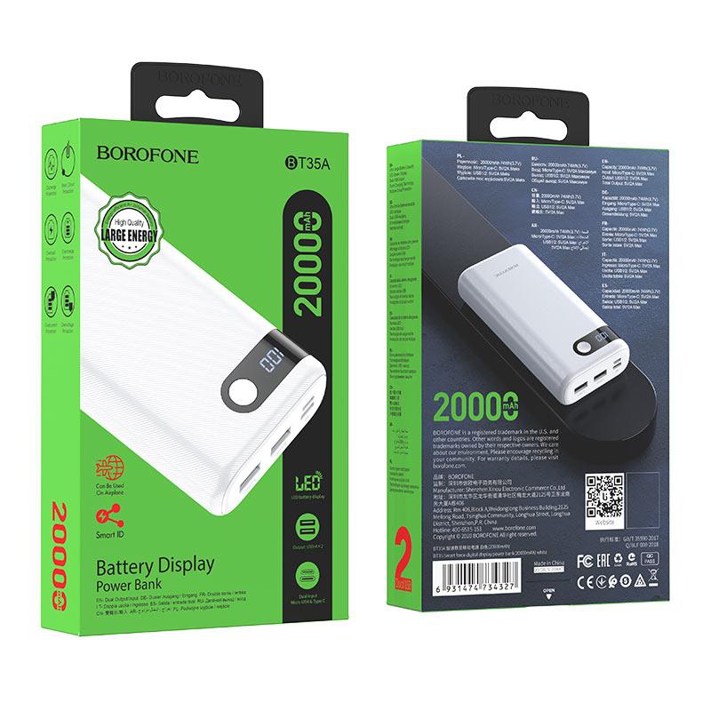 borofone bt35a smart force портативный аккумулятор с дисплеем 20000mah упаковка белый