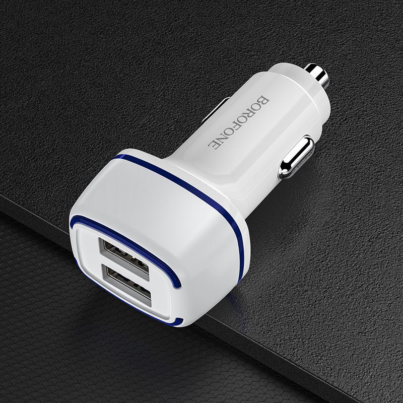 borofone bz14 max автомобильное зарядное устройство с двумя портами подсветкой интерьер