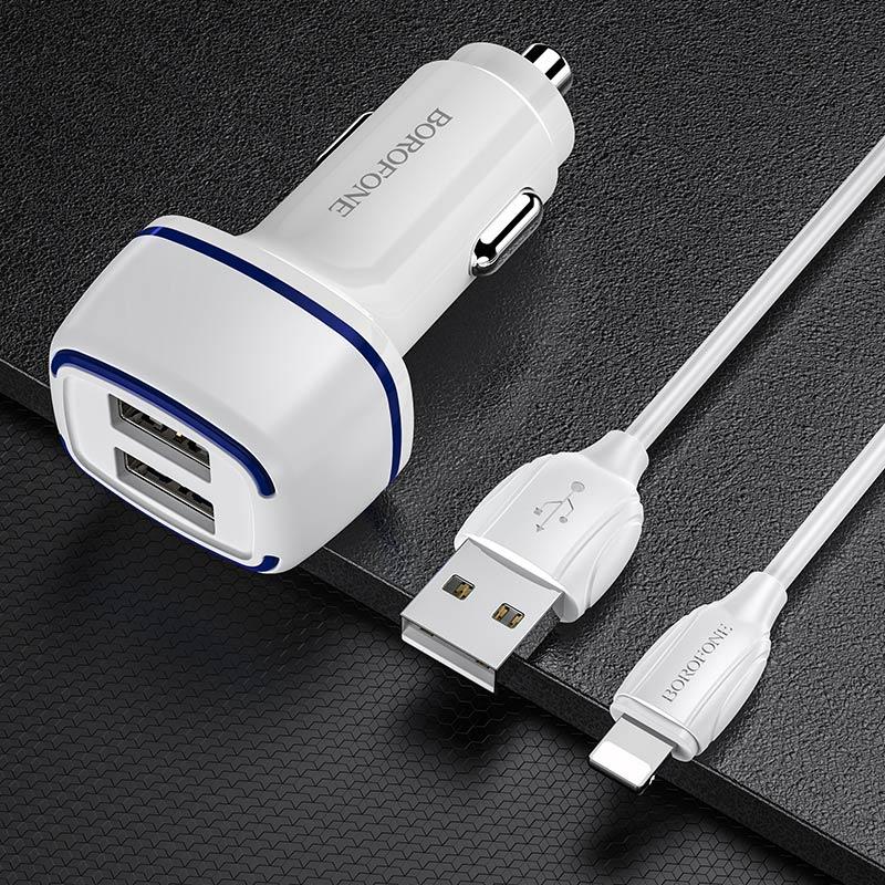 borofone bz14 max автомобильное зарядное устройство с двумя портами подсветкой набор lightning интерьер