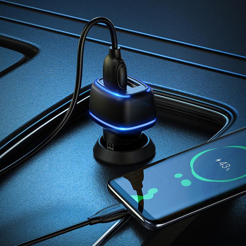 borofone bz14 max dual port ambient light car charger micro usb set charging