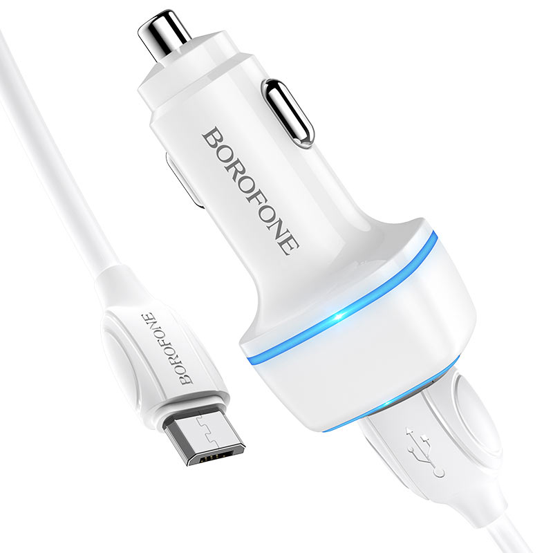 borofone bz14 max dual port ambient light car charger micro usb set kit