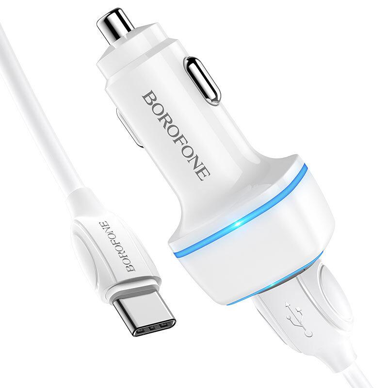 borofone bz14 max dual port ambient light car charger usb c set kit